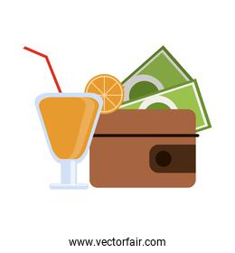 Summer cocktail and wallet with money