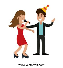 Couple in birthday party
