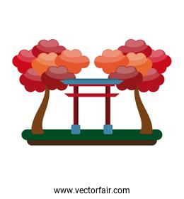 Japanese gate with trees