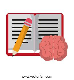 Book and pencil with brain cartoon