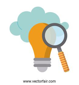 Magnifying glass on bulb light with cloud