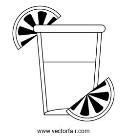 Tequila shot cup symbol in black and white