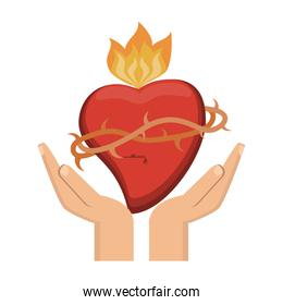 hands with sacred heart with flamme