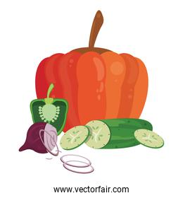 Pumpkin and cucumber with onion with pepper