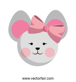 Mouse cute animal head with pink ribbon