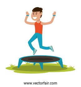 Athlete jumping in trampoline
