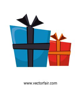 Gift boxes cartoon isolated