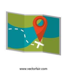 Map with location pin symbol