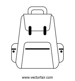 Backpack travel luggage symbol in black and white