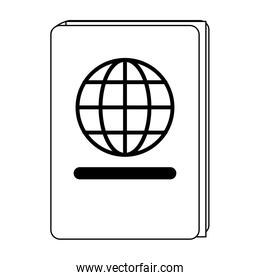 Passport travel document symbol in black and white