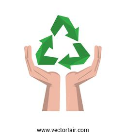 Recycle symbol on hands open symbol
