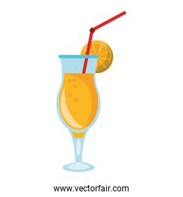 Summer cocktail with orange and straw