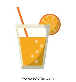 Orange juice cup with straw drink