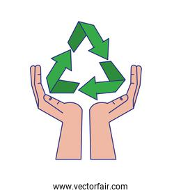 Recycle symbol on hands open symbol blue lines