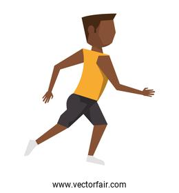 fitness man running avatar cartoon