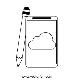 Cloud computing technology in black and white