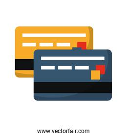 Credit card frontview and backview symbol