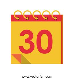 Calendar planner with thirty day