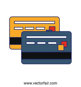 Credit card frontview and backview symbol blue lines