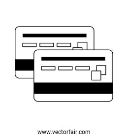 Credit card frontview and backview symbol in black and white