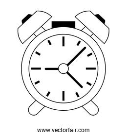 Alarm clock with bells symbol in black and white