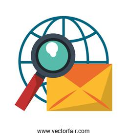 Email and magnifying glass global sphere