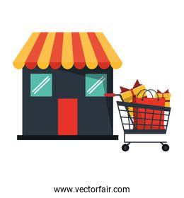 Shopping cart with gifts at store shop