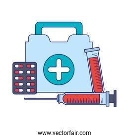 Medical healthcare equipment blue lines