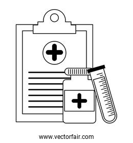 Medical healthcare equipment in black and white
