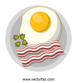 Fried egg and bacon on dish breakfast