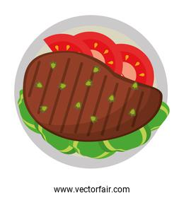 Beef steak with tomato and lettuce healthy food
