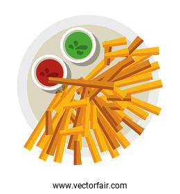 French fries with sauces on dish