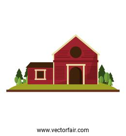 Farm house in nature scenery isolated