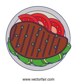Beef steak with tomato and lettuce healthy food blue lines