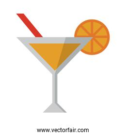 summer cocktail with orange ans straw cup