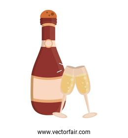 Champagne bottle and cups cartoon isolated
