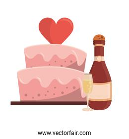Wedding cake with chamapgne bottle and cup cartoon