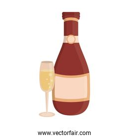 Champagne bottle and cup cartoon isolated