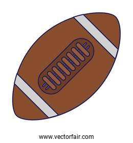 American football ball sport isolated blue lines