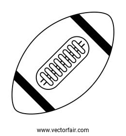 American football ball sport isolated in black and white