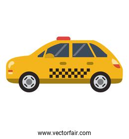 Taxi cab vehicle isolated flat