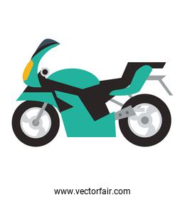 Motorcycle vehicle isolated flat
