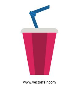 Soda cup with straw isolated flat