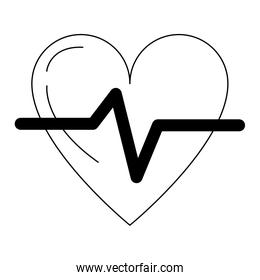 Heart Pulse Health Isolated black and white