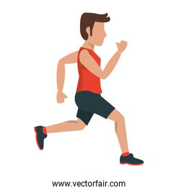 fitness man running sideview