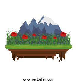 Landscape with mountains and flowers nature scenery isolated