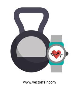 Kettlebell and fitness smartwatch symbols