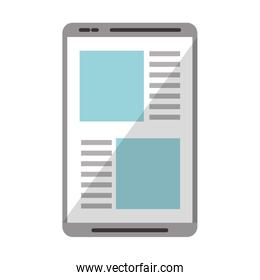 Tablet online news website isolated