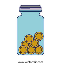 Coin jar savings isolated blue lines