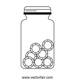 Coin jar savings isolated in black and white